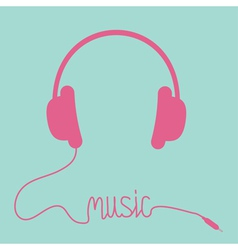 Pink headphones with cord in shape of word music vector