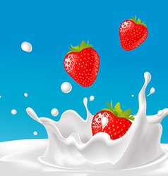 Splash of milk with strawberry- with blue ba vector