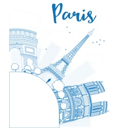 Outline paris skyline with blue landmarks vector