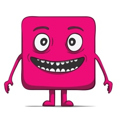 Funny cube dude square character vector
