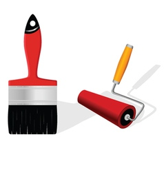 Brush and roller vector