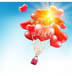 Couple in hot air hearts balloons eps 10 vector