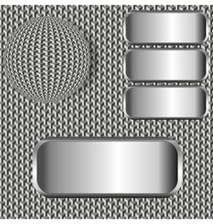 Background with ball and metallic labels vector