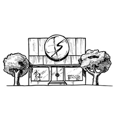 Drawing of the building vector