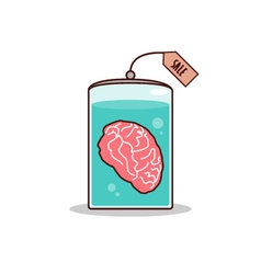 Isolated cartoon brain for sale promotion vector