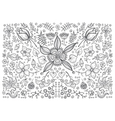Hand drawn vintage floral retro vector