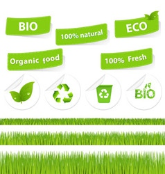 Eco set with grass vector