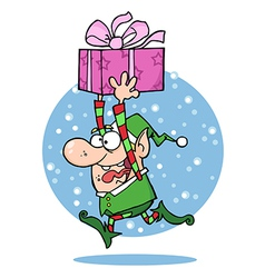 Santas elf runs with gift vector