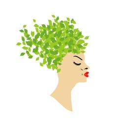 Leafy hair vector