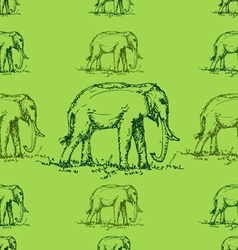 Seamless green tone elephant pattern vector
