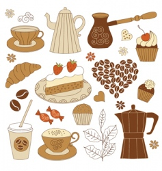 Coffee and dessert set vector