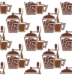Vintage coffee mills with cups seamless pattern vector