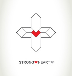 Heart protection system logo strong heart company vector