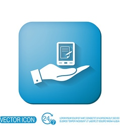 Hand holding a tablet pad with sheet of paper vector