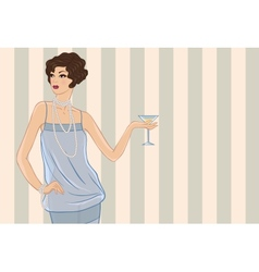 Retro party girl for your design vector