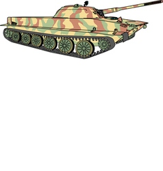 Floating tank in camouflage coloring vector