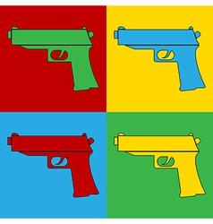 Pop art gun icons vector