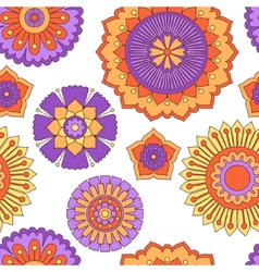 Seamless doodle flowers pattern vector