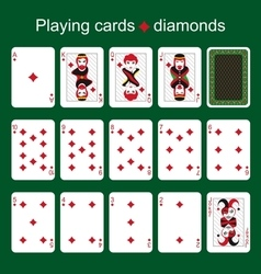 Playing cards diamonds vector