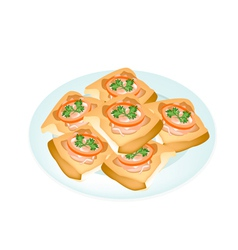 Fried french bread with pork spread in white plate vector
