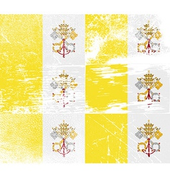 Flag of vatican cityholy see with old texture vector
