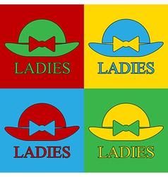 Pop art female hat icons vector