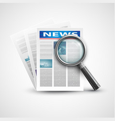 Magnifier and newspaper vector