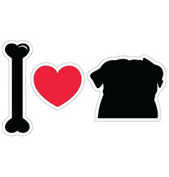 I love pugs in black with american symbols vector