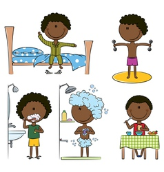 Daily morning african-american boys life vector