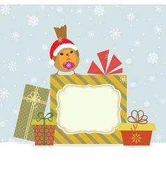 Christmas gifts and robin vector