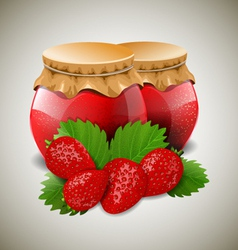 Two jar of jam with strawberry and leaves vector