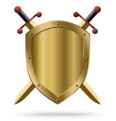 Double-edged golden swords and medieval shield vector