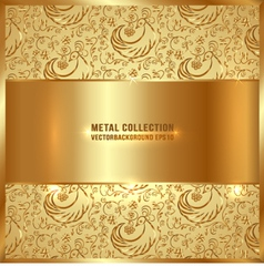 Golden metal plate vector