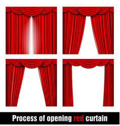 Process of opening red curtain vector