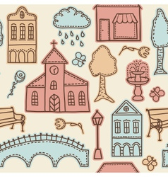 Town or city design elements on seamless pattern vector