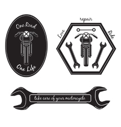 Set of vintage motorcycle labels vector