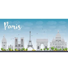 Paris skyline with grey landmarks vector