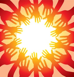 Many hands around hot sun vector