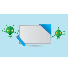 Banner with green robots vector