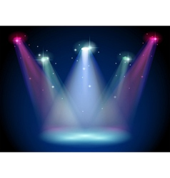 A stage with colorful spotlights vector