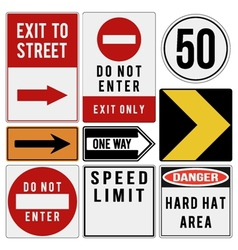 Various metal road warning and direction signs vector