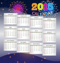 Calendar 2015 on fireworks background vector
