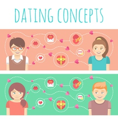 Dating concepts with two happy couples vector