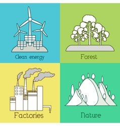 Flat set of ecology environment green clean vector