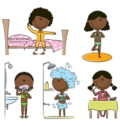 Daily morning african-american girls life vector
