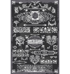 Vintage blackboard hand drawn banners vector