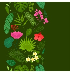 Seamless pattern with tropical plants leaves and vector