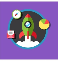 Business start up idea template start up rocket vector