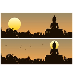 Buddha sunset vector