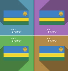 Flags rwanda set of colors flat design and long vector